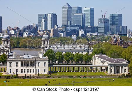 Stock Photographs of View of Docklands and Royal Naval College in.