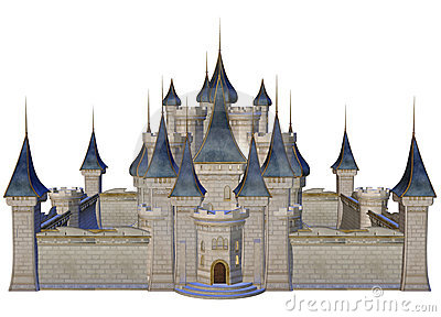 Fairytale Castle With Blue Towers Stock Photography.