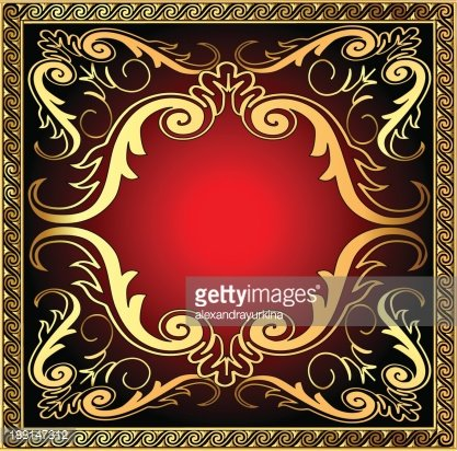 background with frame and royal gold(en) pattern Clipart.