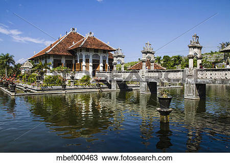 Stock Photo of Indonesia, Bali, View of Royal Palace Ujung Water.