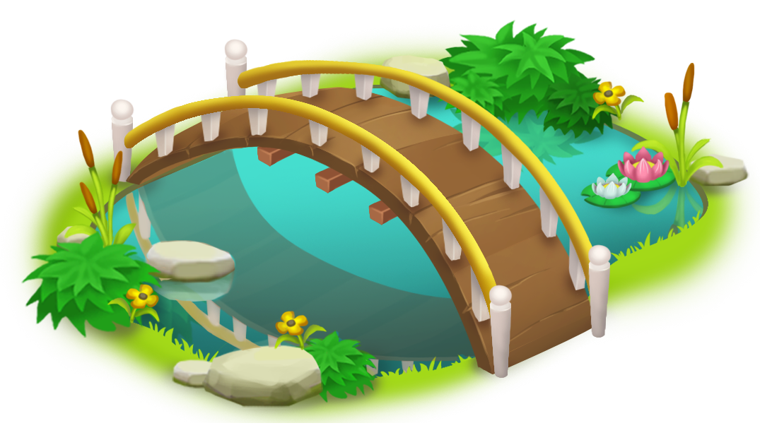 Bridge and Pond PNG Clip Art.
