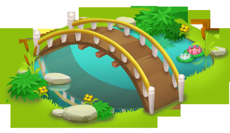Bridge and Pond PNG Clip Art.