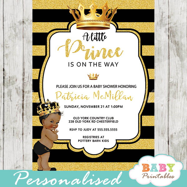African American Black and Gold Little Prince Baby Shower Invitations.