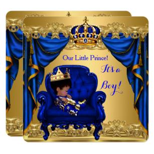 Baby Shower Boy Little Prince Royal Blue Golden Invitation.