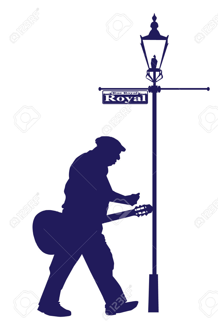 Vector Royal Street Old Musician With Acoustic Guitar Silhouette.