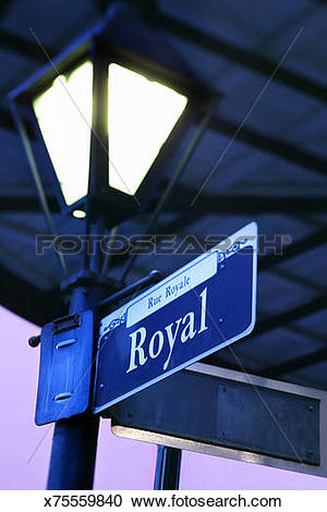 Stock Photography of Royal Street sign on lamppost, French Quarter.