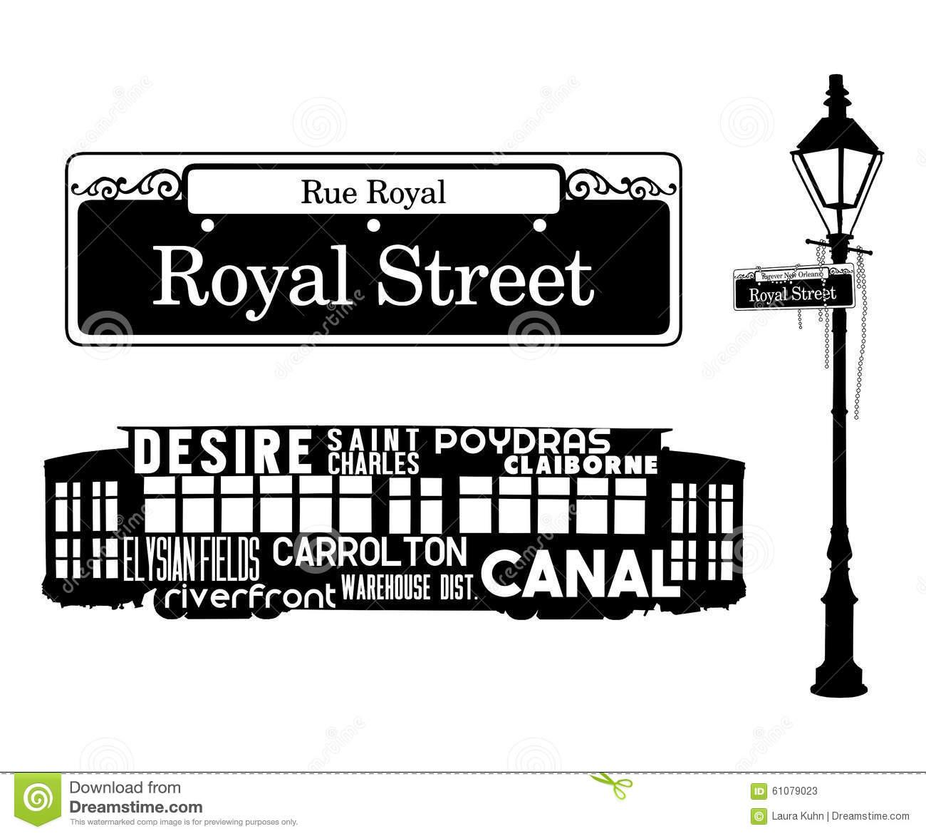 French Quarter New Orleans Icons Stock Illustration.