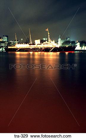 Stock Photograph of Royal Yacht Britannia at Night tra.