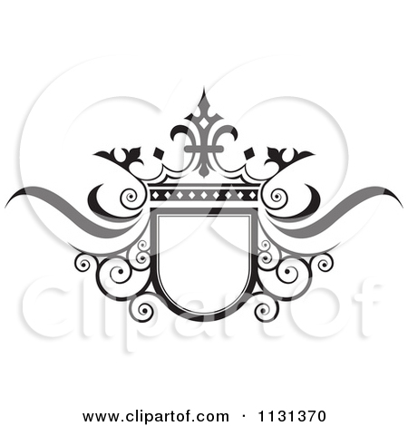 Clipart of a Silver Crown and Swirl Flourish Wedding Frame.