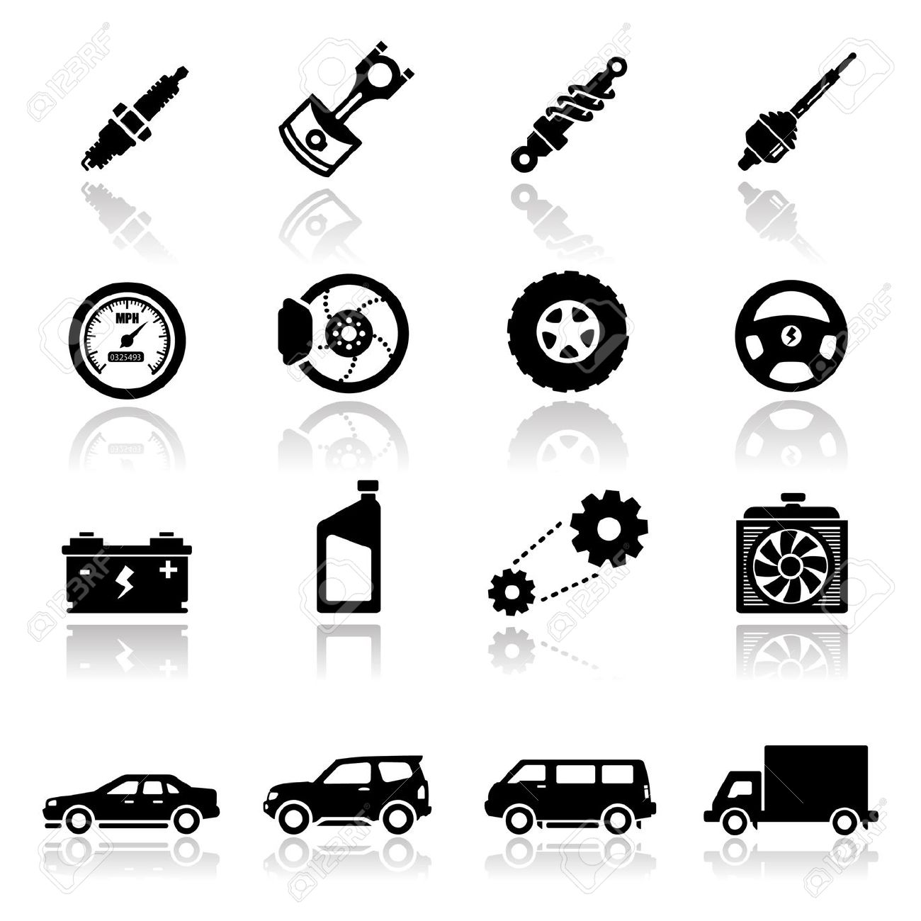 Royalty Free Car Parts Clipart.