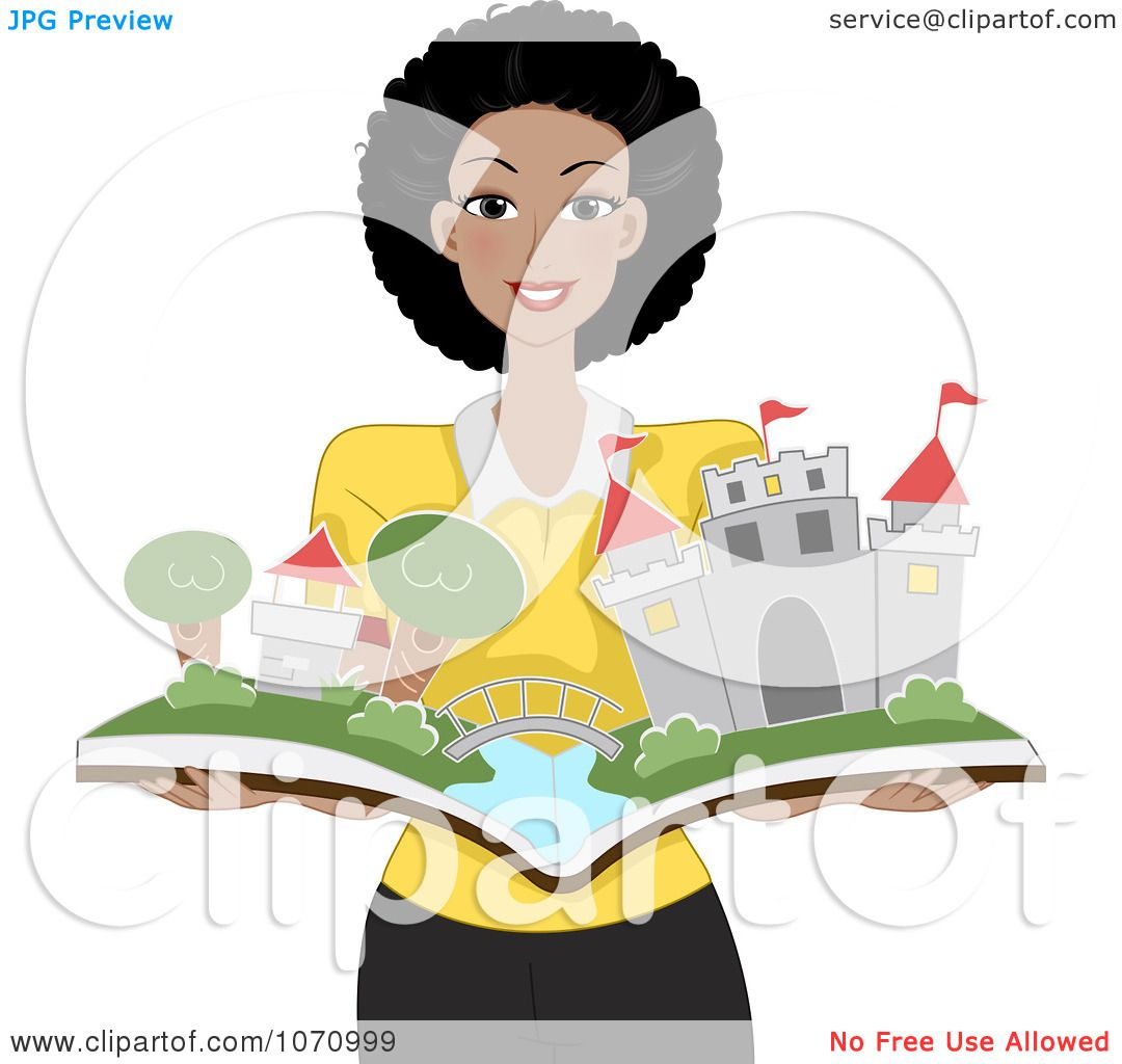 Clipart Happy Black Female Teacher Holding A Pop Up Story Book.