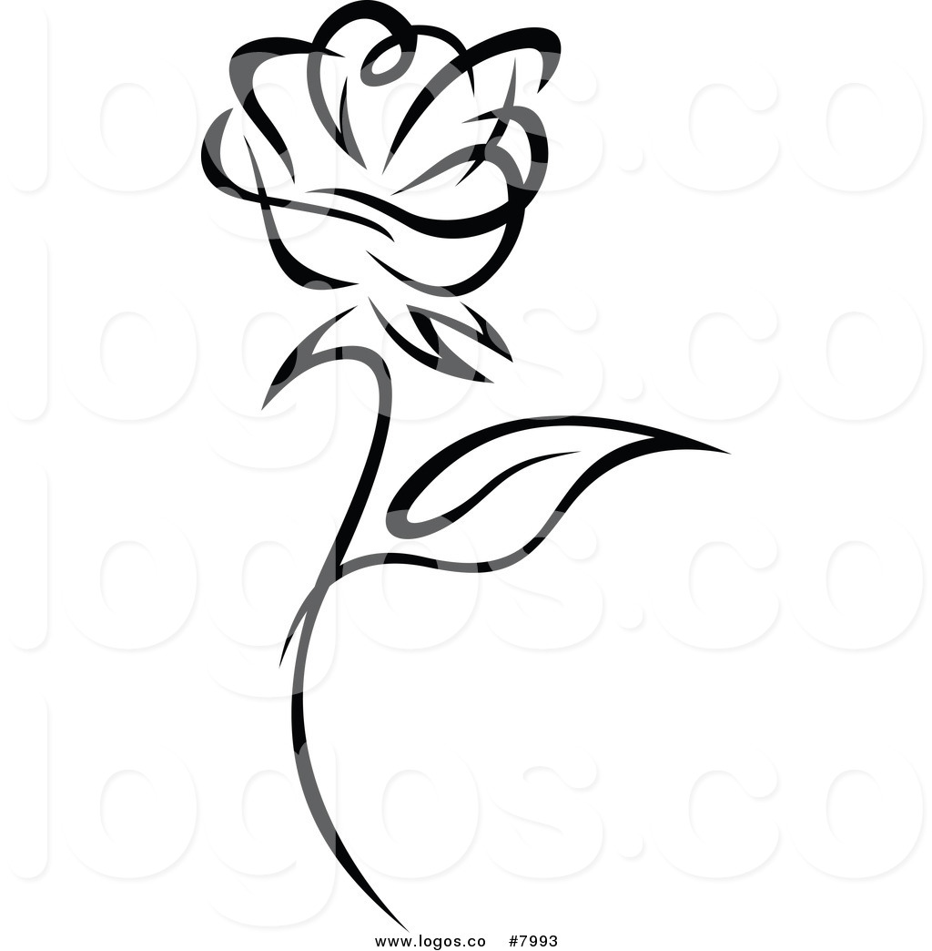Free Rose Clipart Black And White.