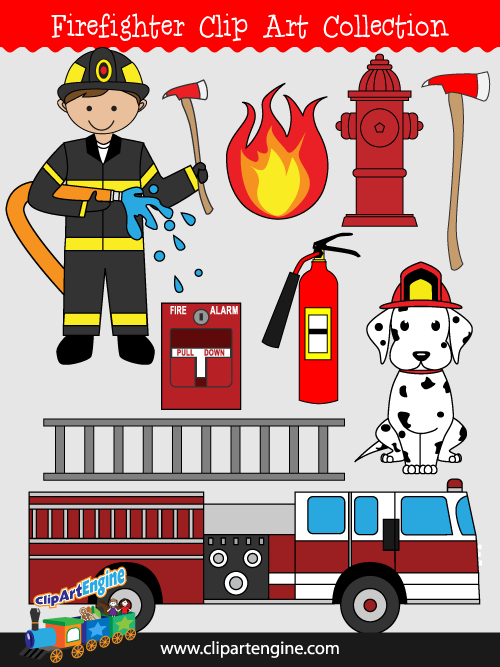 Firefighter Clip Art Collection for Personal and Commercial Use.