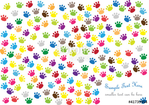 colorful vector background with cat paw prints