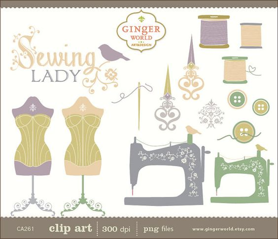 Sewing clip art, hand draw illustration clipart.