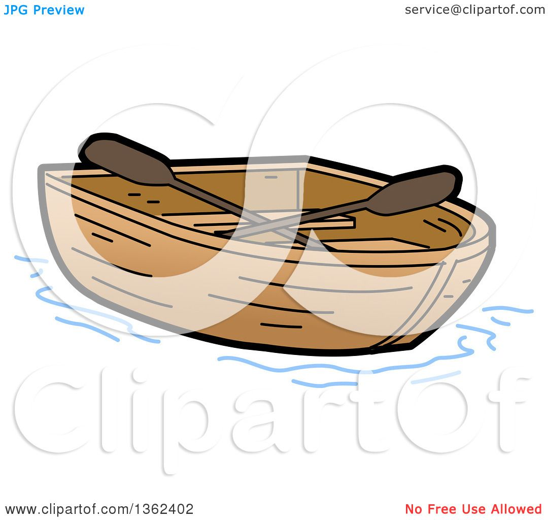 Clipart of a Cartoon Empty Wooden Row Boat.