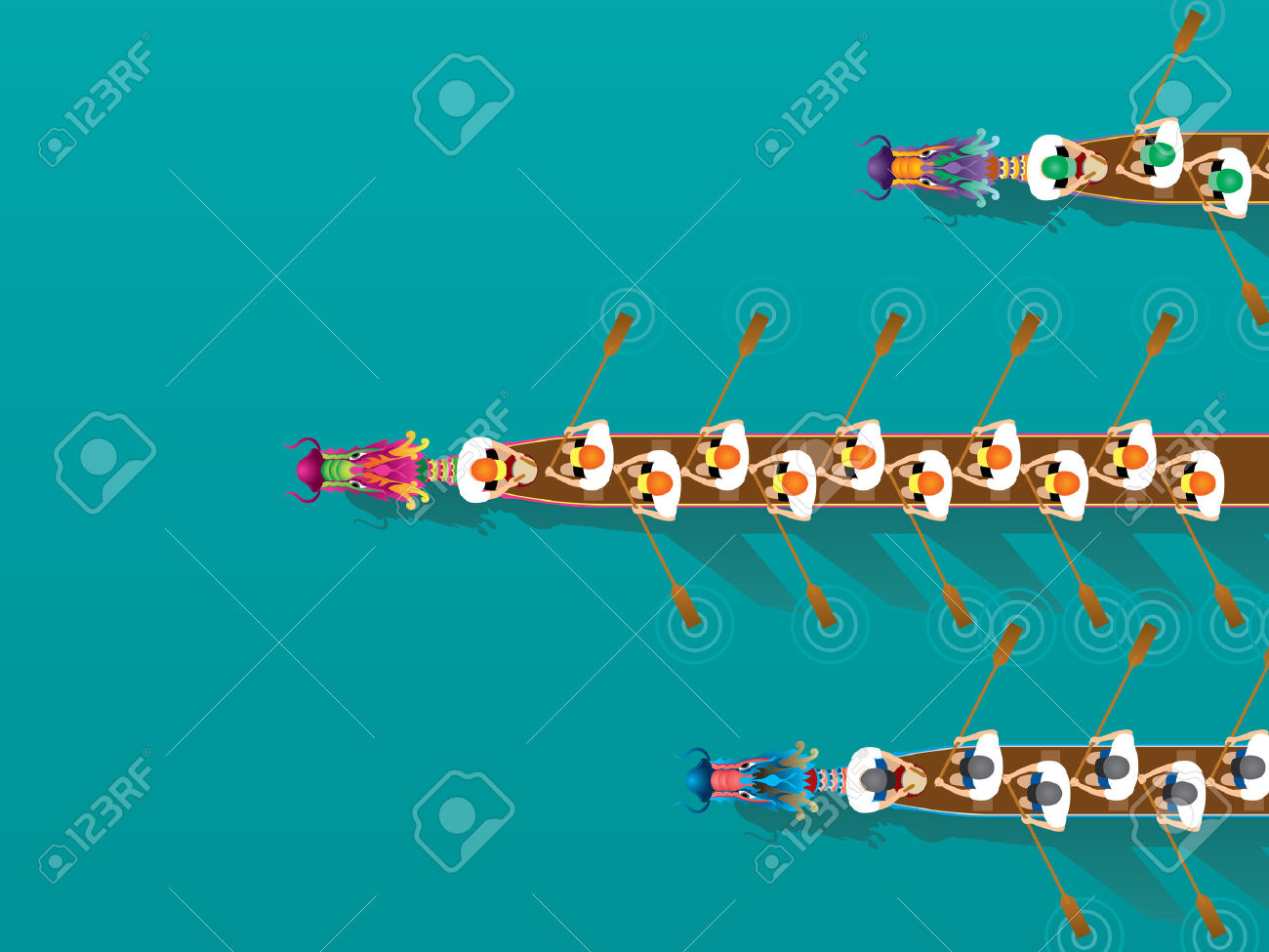 Chinese Dragon Boat Competition Illustration In High Angle View.