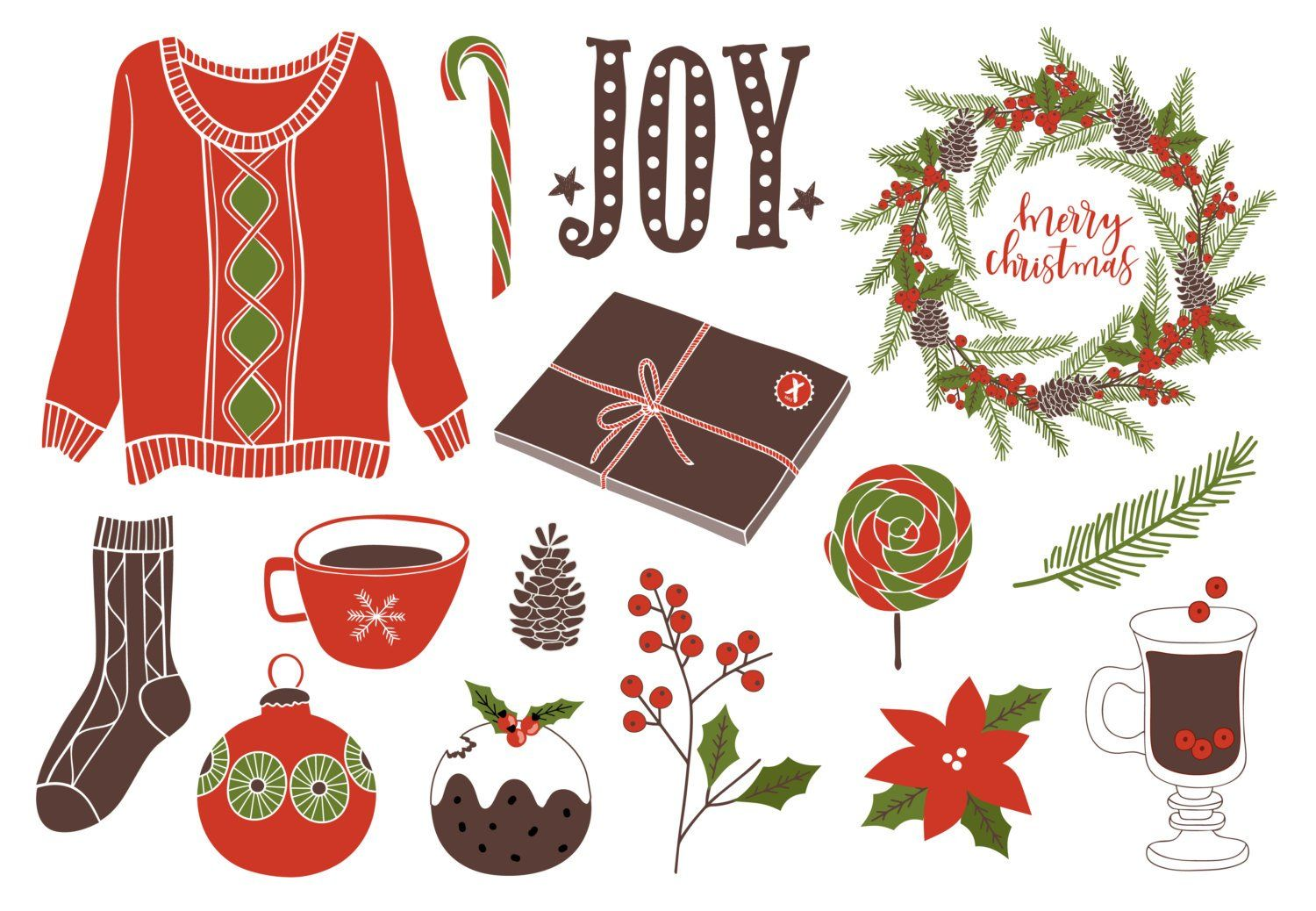 Christmas clipart / Wreath / Florals / holiday clipart.