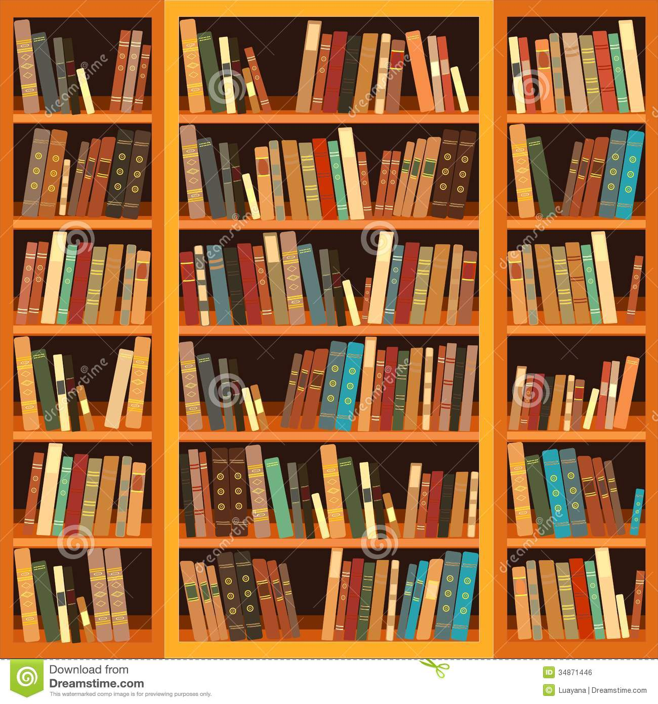 Bookcase Full Of Books Royalty Free Stock Image.