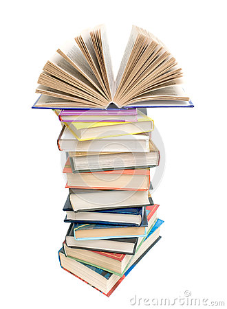 Open Book On A Pile Of Books On A White Background Royalty Free.