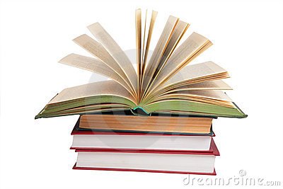 Stack Of Books With Opened Book Royalty Free Stock Photo.