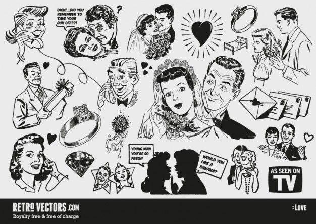 Free \'50s Love themed clip art.