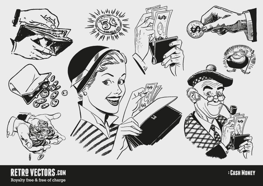 50s 60s clipart: Money.