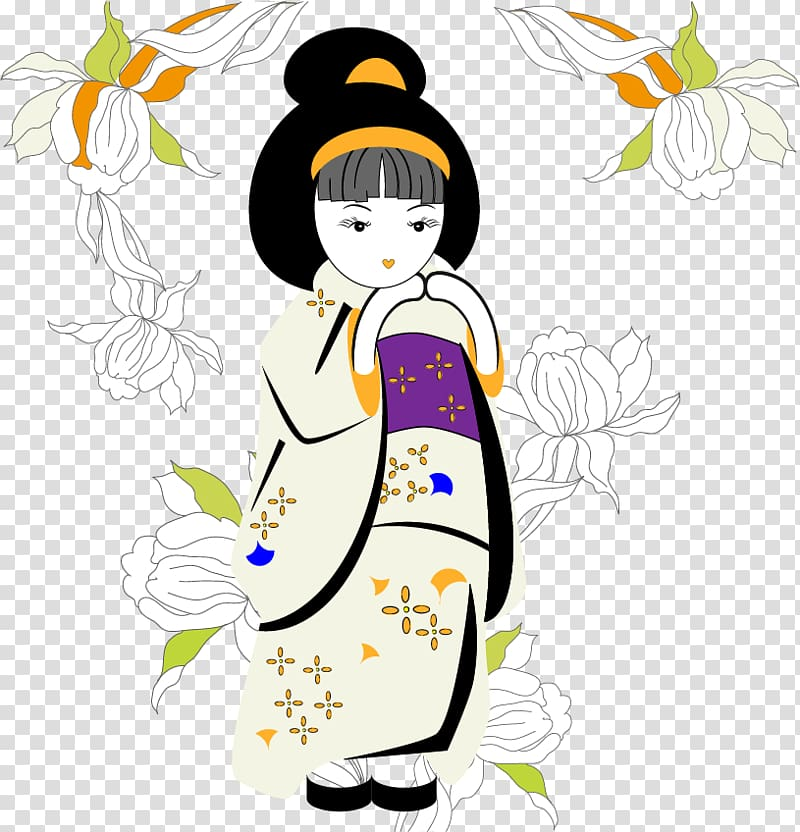 Japan Free content , Japanese kimono girls transparent.