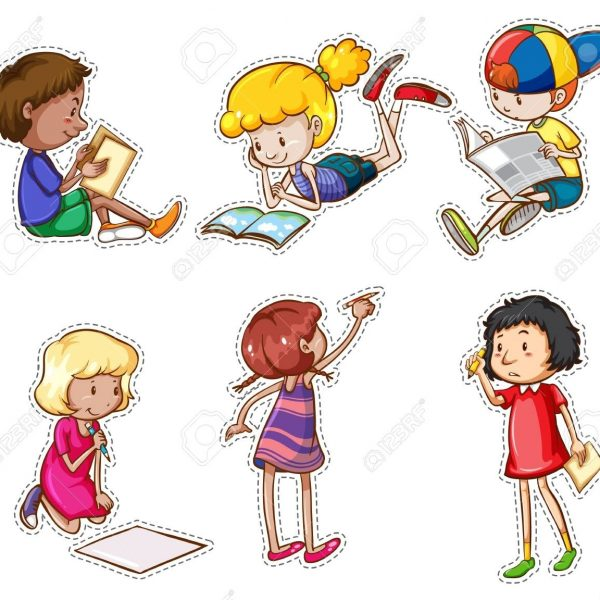 Children Reading And Writing Illustration Royalty Free.