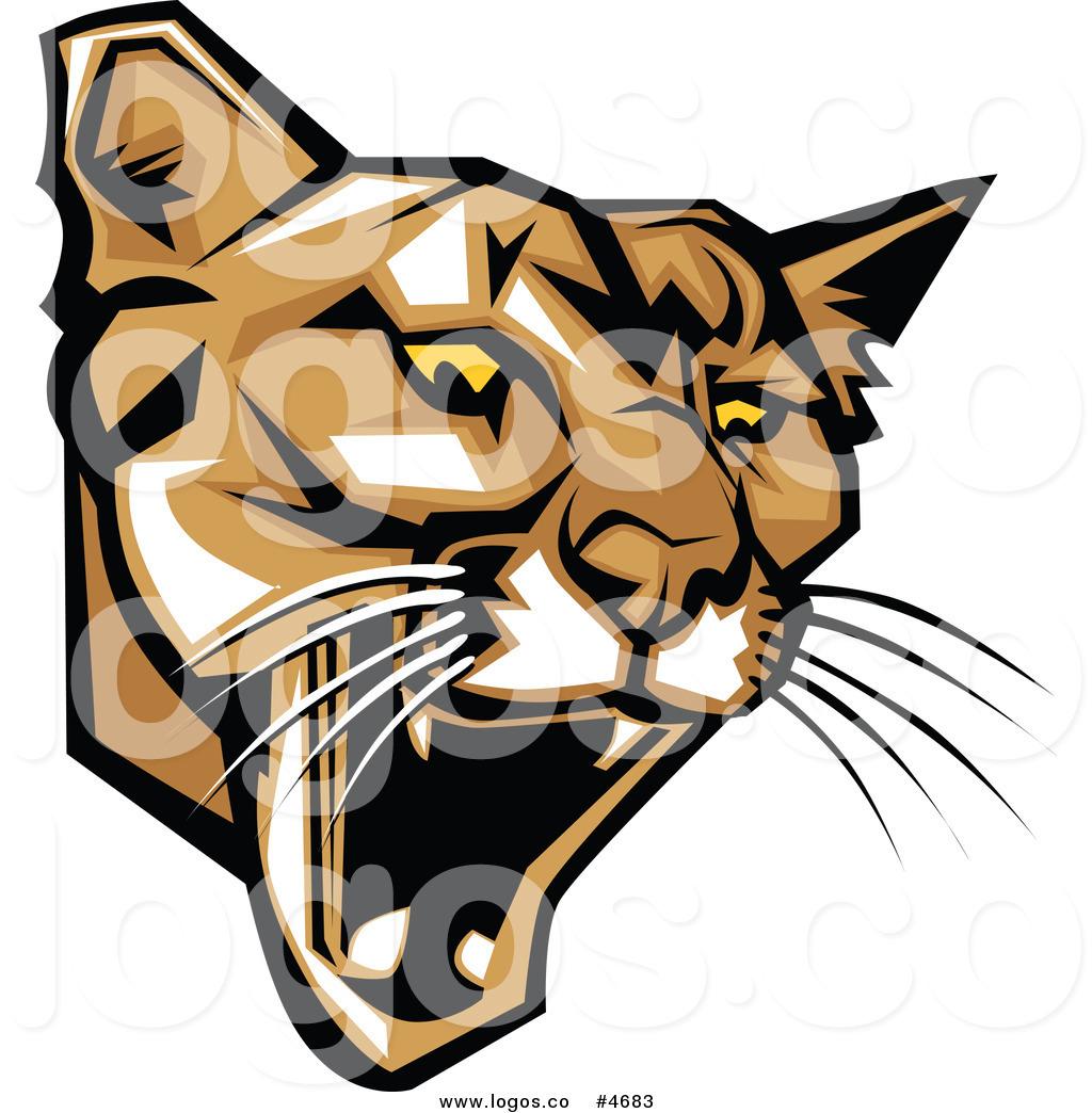 Royalty Free Clip Art Vector Logo of a Mad Puma Mascot Head.