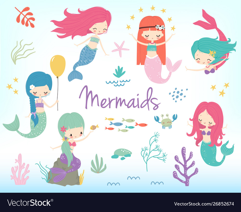 Cute little cartoon mermaids clip art.