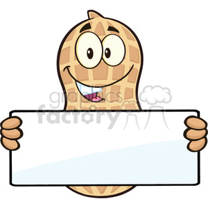 8737 Royalty Free RF Clipart Illustration Peanut Cartoon Mascot Character  Holding a Blank Sign Vector Illustration Isolated On White clipart..