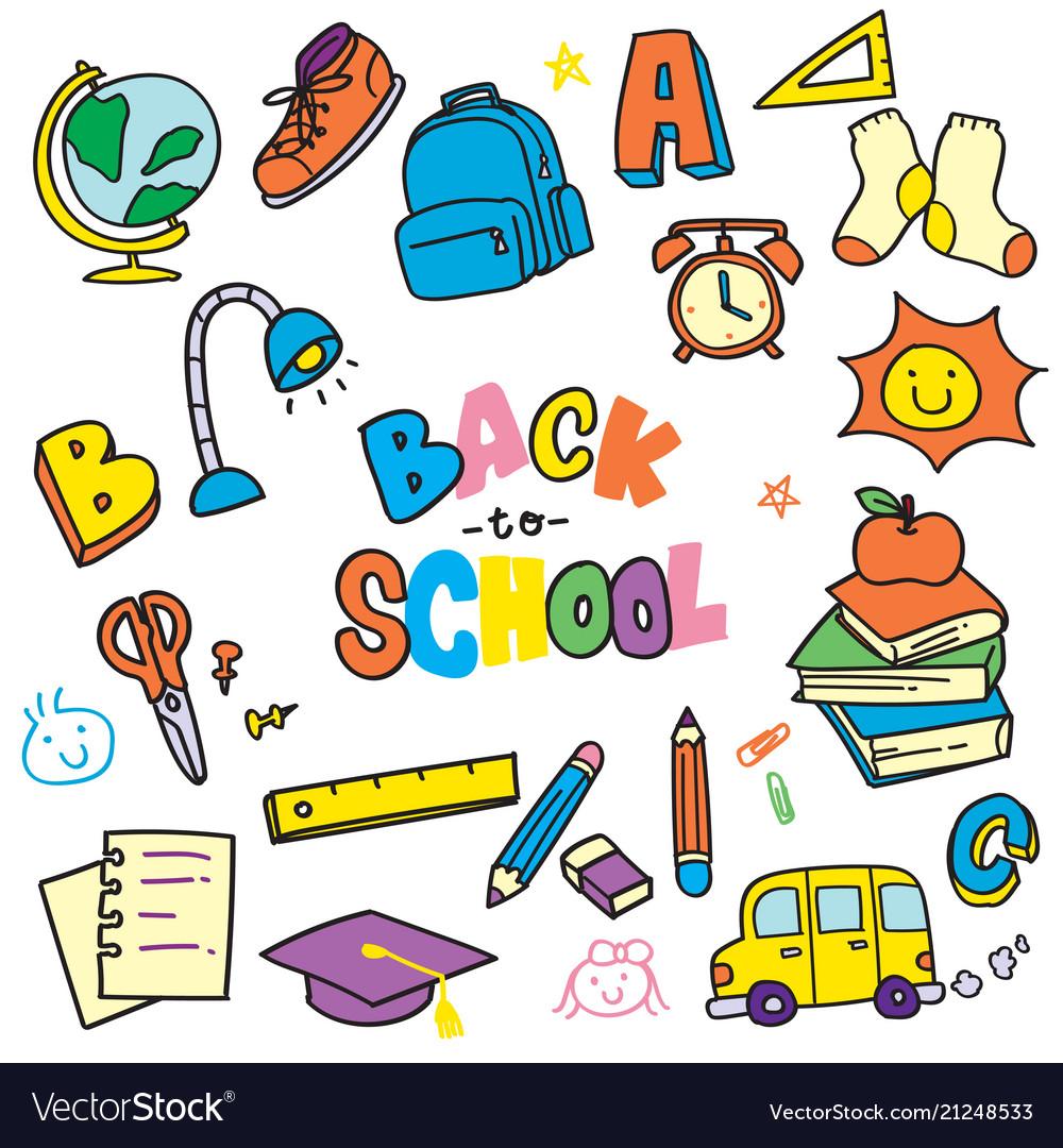Back to school doodle clip art.