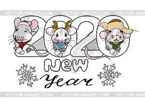 New year 2020 inscription and rats in Christmas.