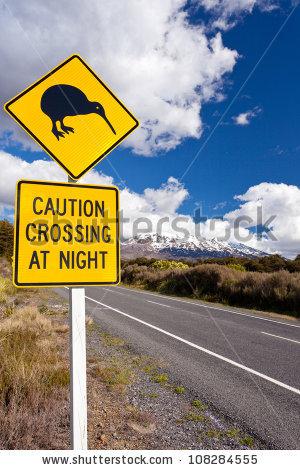 Kiwi Road Sign Mount Ruapehu Tongariro Stock Photo 128077331.