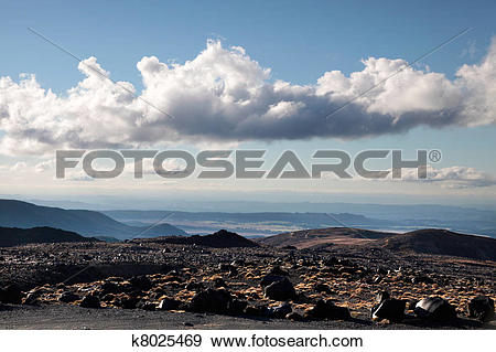 Stock Photograph of Meager landscape at Mount Ruapehu k8025469.