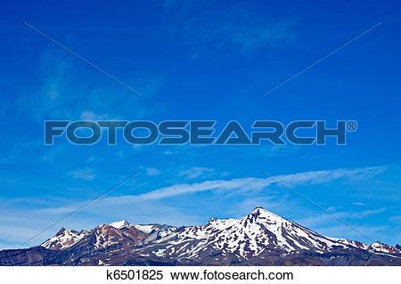Stock Image of Mt Ruapehu and blue sky. k6501825.