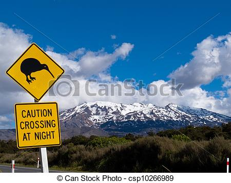 Pictures of Kiwi Crossing road sign and volcano Ruapehu in NZ.
