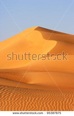 A Dune Landscape In The Rub Al Khali Or Empty Quarter. Straddling.