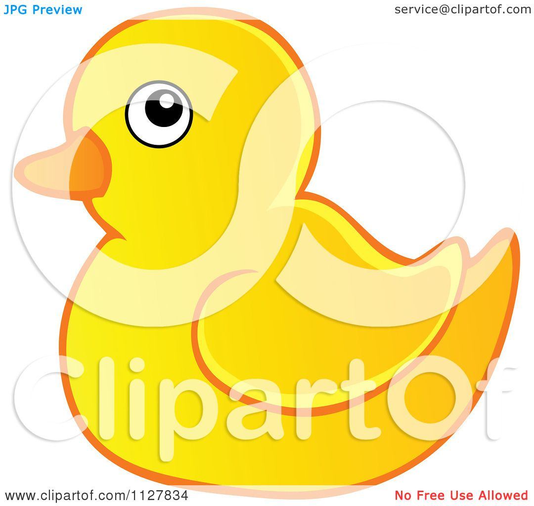 Cartoon Of A Toy Rubber Duck.
