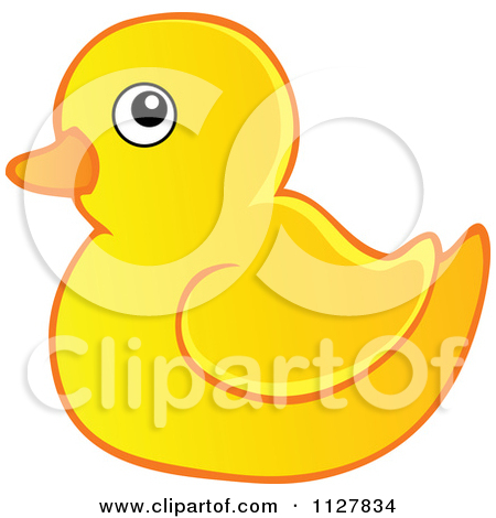 Cartoon Of An Outlined Toy Rubber Duck.
