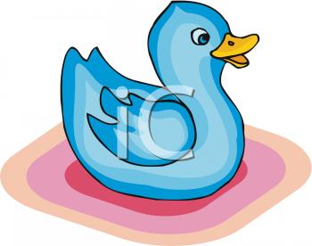 Little Blue Duck Toy Clipart Picture.