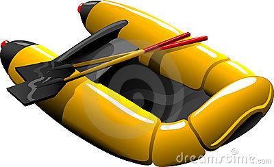 Rubber Boat With Oar Cartoon Stock Vector.