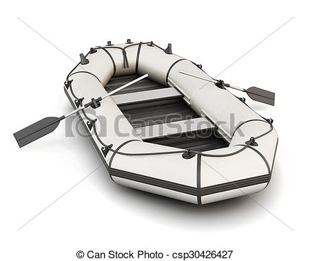Clip Art of White inflatable rubber boat with oars isolated on.