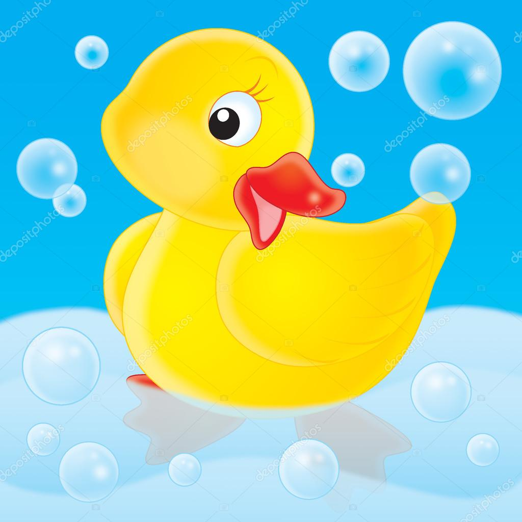 Cute yellow rubber duck posing in a tub — Stock Photo.