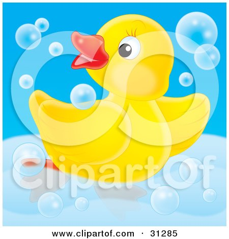 Clipart Illustration of a Cute Yellow Rubber Duck Swimming With.