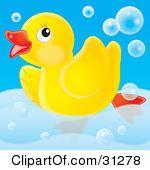 Rubber Duck bubbles bathtub Clip Art.