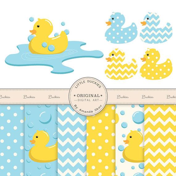 Premium Rubber Duck Clip Art & Digital Paper Set.