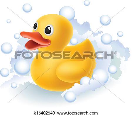Clipart of Rubber Duck Bubble Bath Cartoon k16378701.