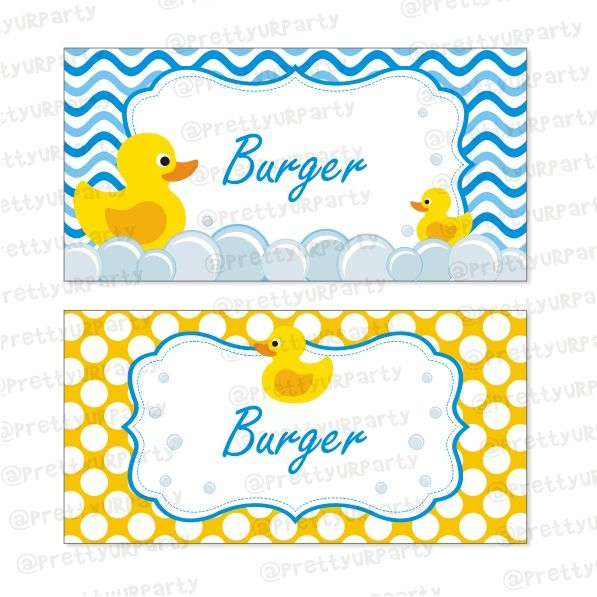 Rubber Ducky Food Labels / Buffet Table Cards.
